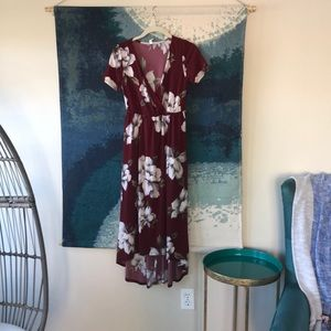 Maroon with white floral design maternity dress
